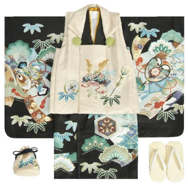 七五三 男の子 3歳 被布着物セット 黒地 絵羽柄 被布ベージュ色 白半襟に足袋付きセット 日本製