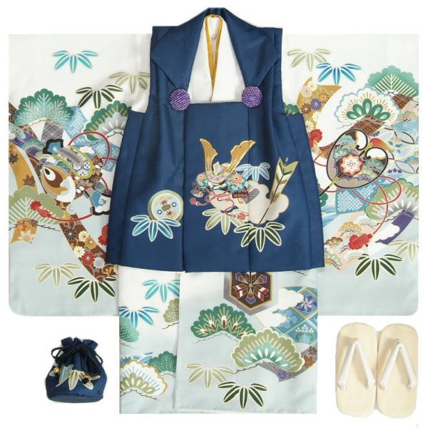 七五三 男の子 3歳 被布着物セット 白地 絵羽柄 被布紺色 白半襟に足袋付きセット 日本製