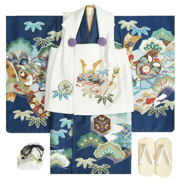 七五三 男の子 3歳 被布着物セット 紺地 絵羽柄 被布白色 白半襟に足袋付きセット 日本製