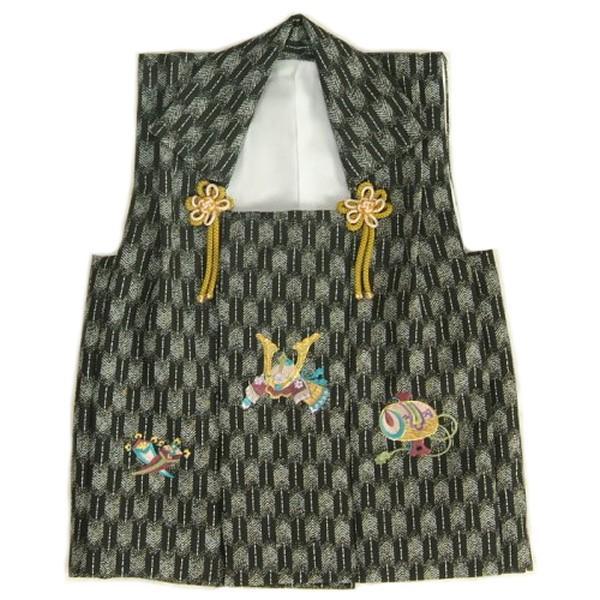 七五三 3歳 被布単品 男の子 着物 黒グレー色 兜刺繍 金駒刺繍 矢絣地柄文様 日本製