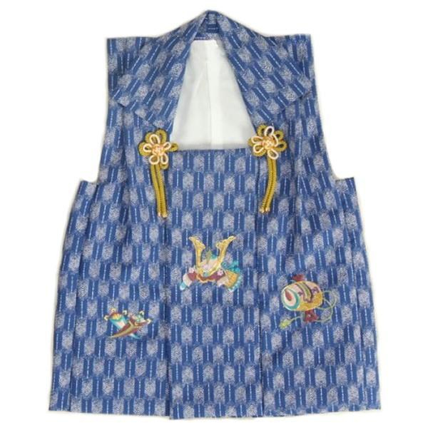七五三 3歳 被布単品 男の子 着物 ブルー色 兜刺繍 金駒刺繍 矢絣地柄文様 日本製