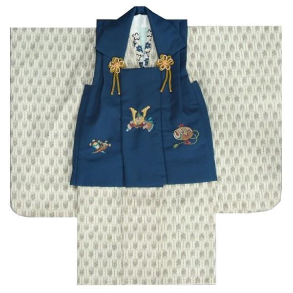 七五三 男の子 3歳 被布着物セット オフホワイト 矢絣柄 被布青紺色 刺繍半襟に足袋付きセット 日本製