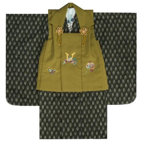 七五三 男の子 3歳 被布着物セット 黒 矢絣柄 被布濃緑(抹茶)色 刺繍半襟に足袋付きセット 日本製