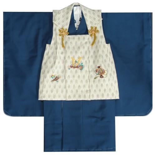 七五三 男の子 3歳 被布着物セット 紺 無地 被布矢絣オフホワイト色 刺繍半襟に足袋付きセット 日本製