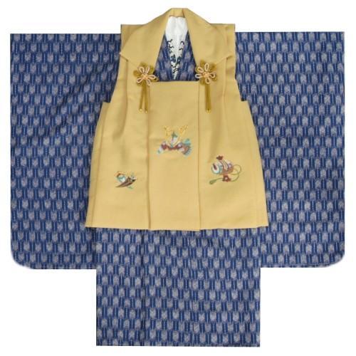 七五三 男の子 3歳 被布着物セット 青 矢絣柄 被布金茶ベージュ色 刺繍半襟に足袋付きセット 日本製