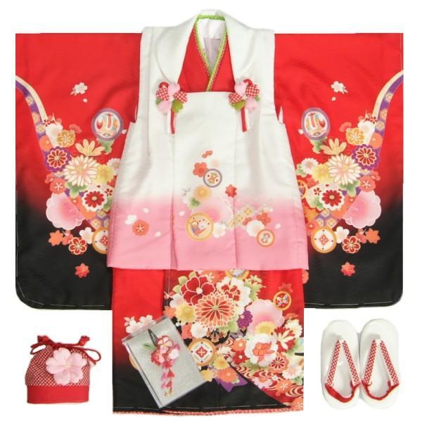 七五三 着物 3歳 女の子 被布セット マユミブランド 赤色裾黒染め分け着物 被布白地 絵羽文様 刺繍半衿に足袋付きセット 日本製