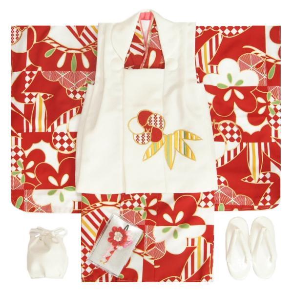 七五三 着物 3歳 女の子 被布セット 花わらべブランド 濃赤色 梅 桃山配色 金彩使い 被布白色刺繍使い 雛祭り 正月 足袋付セット 日本製