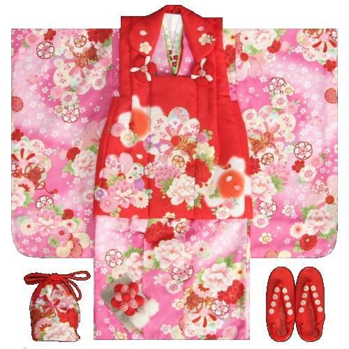 七五三着物 3歳 女の子被布セット 京都花ひめ 濃ピンク着物 被布赤 捻り梅 牡丹 足袋付き11点フルセット