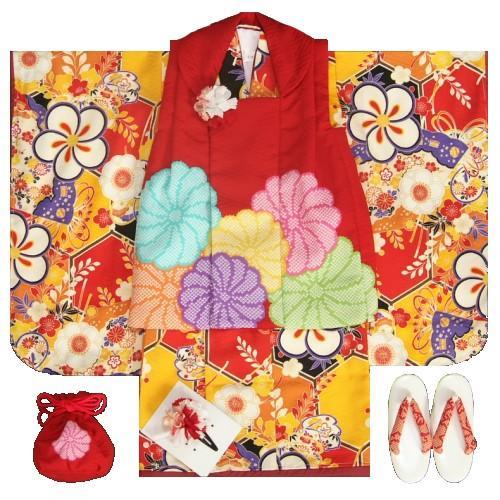 七五三着物3歳 女の子被布セット 九重ブランド 藤田彩華×HINARI 橙 捻り梅 赤地色被布 足袋付セット サヤ地紋生地 日本製