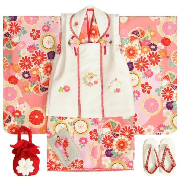 七五三 着物 3歳 女の子 被布セット 京都花ひめブランド 華風車 ピンク ベージュ 被布白色 華珠刺繍 足袋付セット 日本製