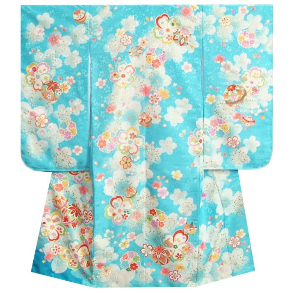 七五三着物 7歳 女の子四つ身着物 水色ピンク染め分け 雪輪七宝 刺繍牡丹 ぼかし生地生地