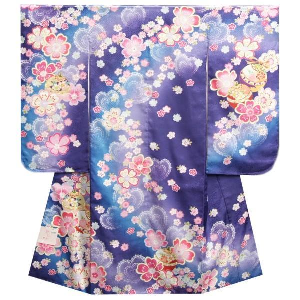 七五三 着物 7歳 女の子 四つ身着物 濃淡青紫色ぼかし流れ染め 重ね桜 日本製