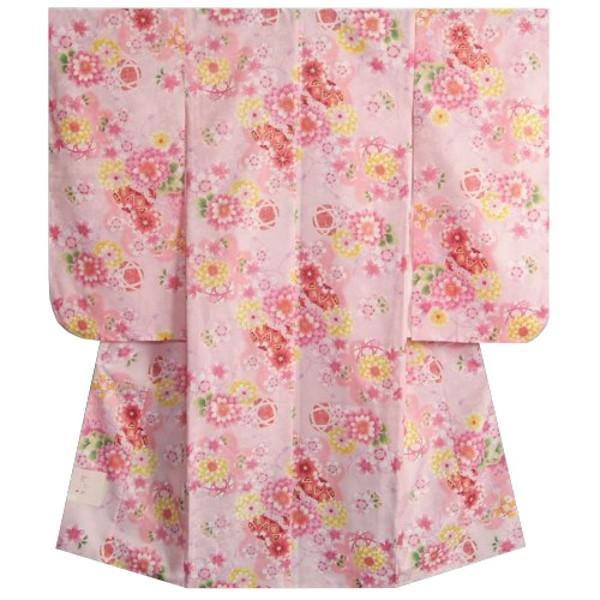 七五三 着物 7歳 女の子四つ身着物 ピンク色 桜 牡丹菊 桜地紋