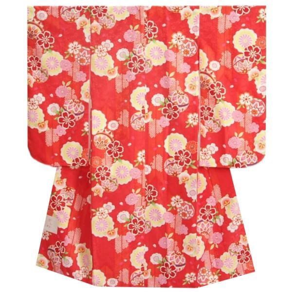 七五三 着物 7歳 女の子 四つ身着物 赤地 八重桜 矢絣 橘 金彩使い 地紋生地