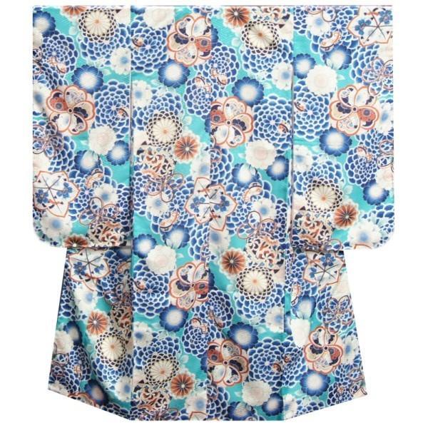 七五三 着物 7歳 女の子 四つ身着物 マユミブランド 青緑色 牡丹菊 サヤ地紋 日本製