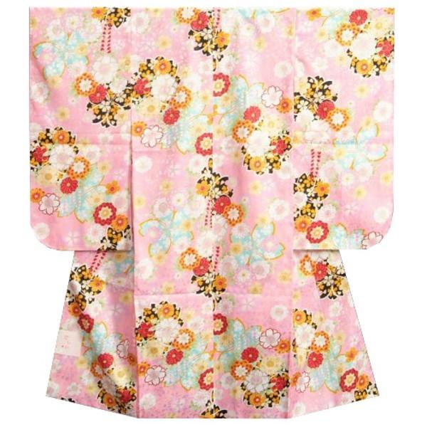 七五三着物 7歳女の子四つ身着物 ピンク色 桜 桜輪 地紋生地