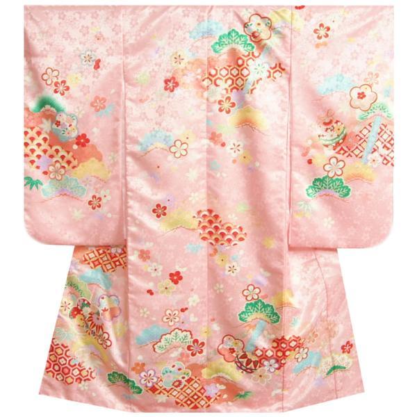 七五三 着物 7歳 正絹 女の子 四つ身着物 濃淡ピンク色染め分け 松竹梅 金駒刺繍使い 日本製