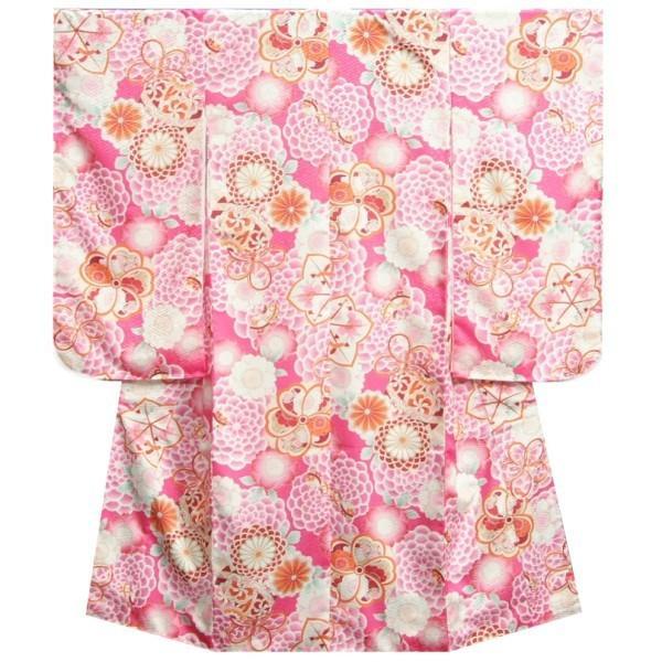 七五三 着物 7歳 女の子 四つ身着物 マユミブランド ピンク色 牡丹菊 サヤ地紋 日本製