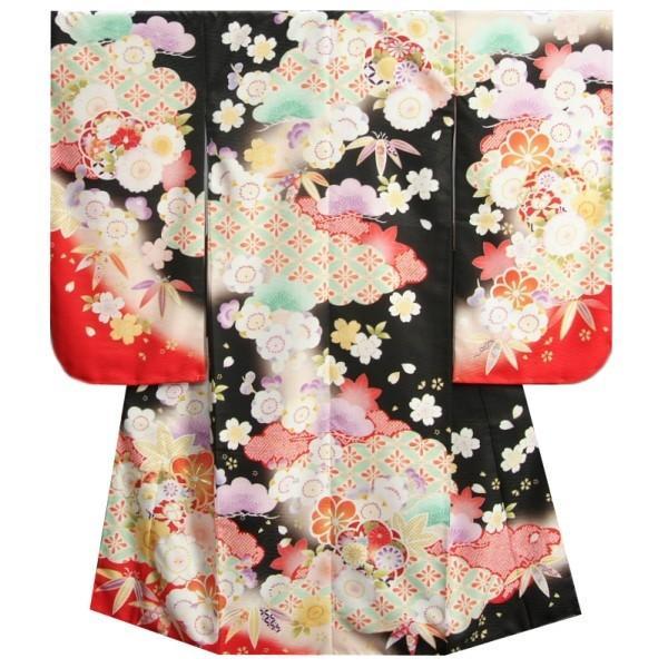 七五三着物7歳 女の子四つ身着物 式部浪漫 黒地赤色染め分け 桜七宝 金糸刺繍 日本製
