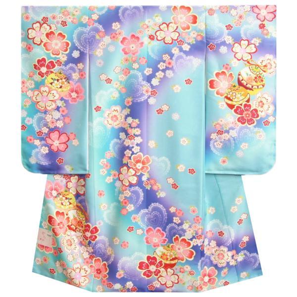 七五三 着物 7歳 女の子 四つ身着物 濃淡水色紫ぼかし流れ染め 重ね桜 金駒刺繍 日本製
