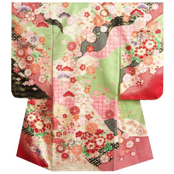 七五三着物 7歳 女の子四つ身着物 濃淡黄緑ピンク染め分け まり 刺繍牡丹菊 ぼかし地紋生地