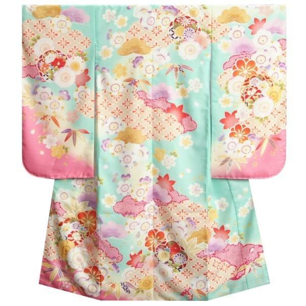 七五三 着物 7歳 女の子 四つ身着物 式部浪漫 淡エメラルドグリーン桜ピンク色染め分け 桜七宝 金糸刺繍 日本製