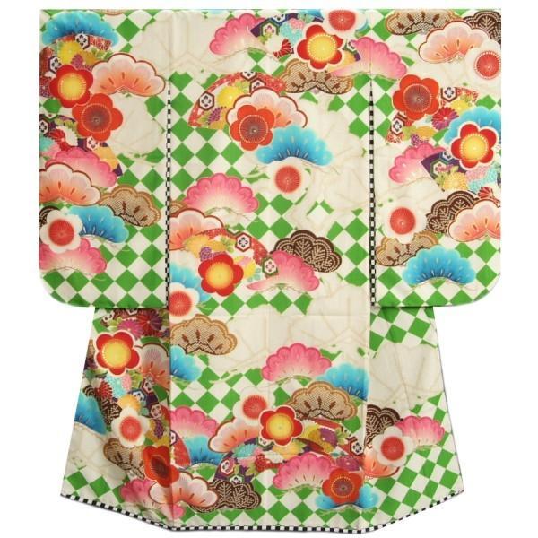 七五三 着物 7歳 女の子 四つ身着物 JAPANSTYLE×松坂大輔 緑色 菱市松 扇面 松竹梅 地紋生地