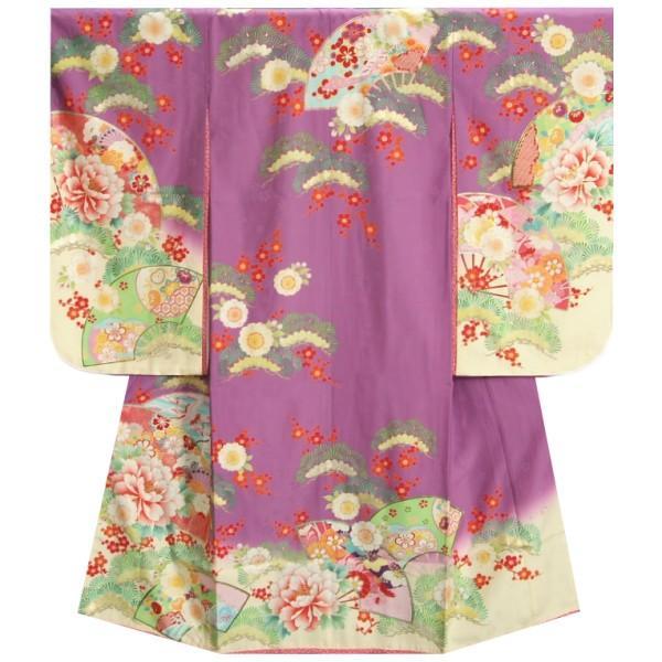 七五三 着物 7歳 女の子 四つ身着物 乙葉ブランド 紫地色裾ベージュ染め分け 檜扇 扇面 松竹梅 地紋生地