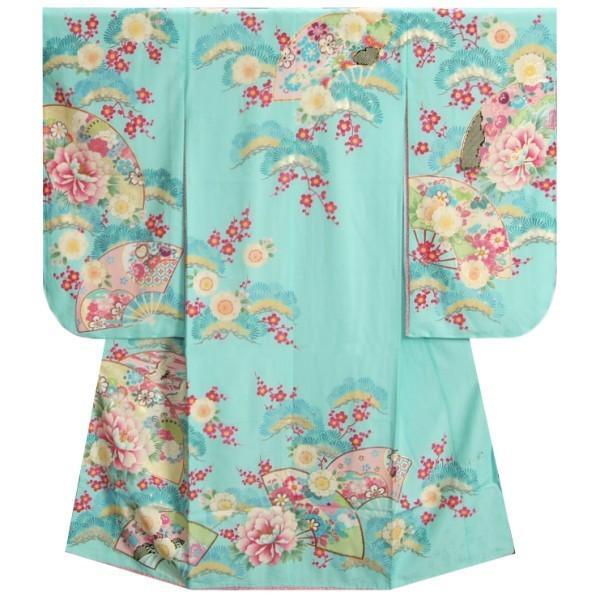 七五三 着物 7歳 女の子 四つ身着物 乙葉ブランド 水色 檜扇 扇面 松竹梅 地紋生地
