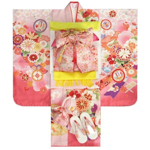 七五三 着物 7歳 女の子 着物フルセット 式部浪漫ブランド 濃淡桜ピンク色地着物 ピンク縮緬地友禅柄帯セット 菊 足袋に腰紐など20点セット