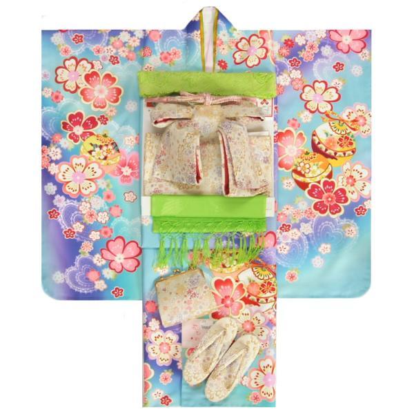 七五三 着物 7歳 女の子 着物フルセット 濃淡水色ぼかし紫色流れ染め 重ね桜 金駒刺繍 白地雪華文様帯セット 足袋に腰紐など20点セット 日本製