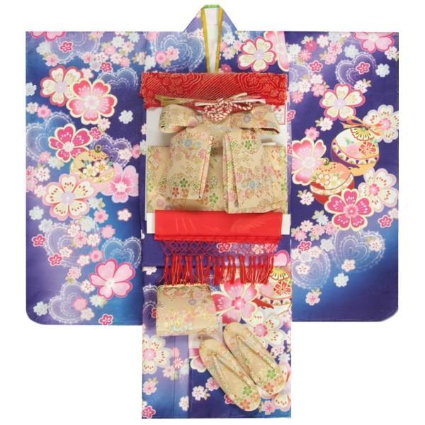 七五三 着物 7歳 女の子 着物フルセット 濃淡青紫色ぼかし流れ染め 重ね桜 金襴有職文様帯セット 足袋に腰紐など20点セット 日本製