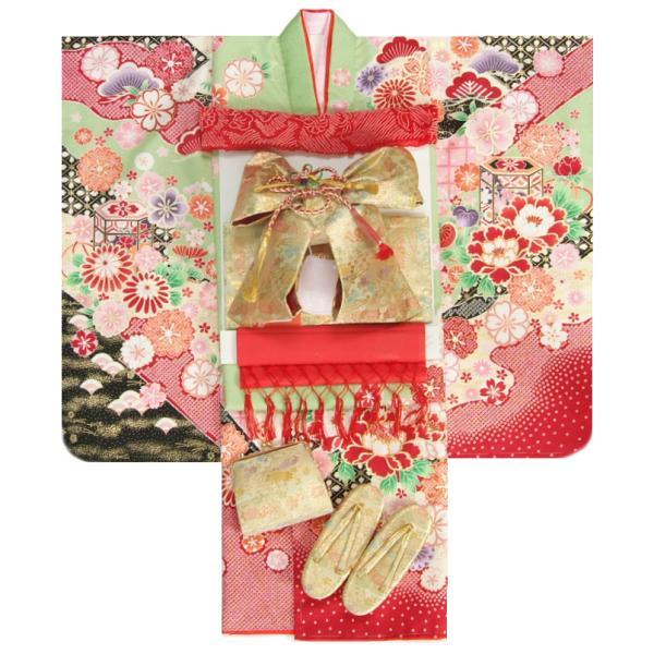 七五三 着物 7歳 女の子 着物フルセット フロム京都ブランド 黄緑ピンク色染分け まり 刺繍牡丹菊 ピンクちりめん友禅柄帯セット 足袋に腰紐など20点フルセット