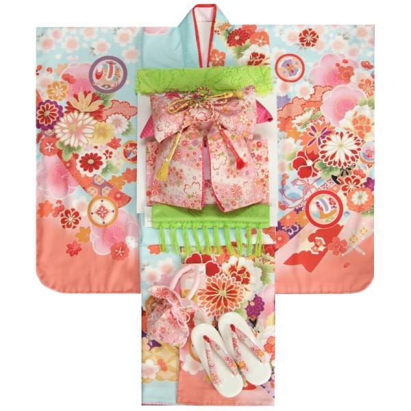 七五三 着物 7歳 着物フルセット 式部浪漫ブランド 水色地ピンク染め分け着物 ピンク縮緬地友禅柄帯セット 菊 足袋に腰紐など20点セット