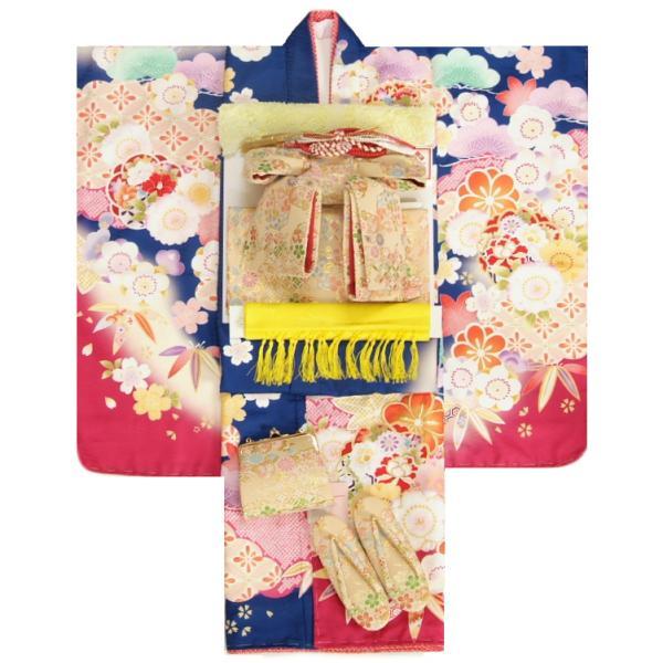 七五三 着物 7歳 着物フルセット 式部浪漫ブランド 青紺色地着物 桜七宝 ベージュゴールド有職文様帯セット 足袋に腰紐など20点フルセット 日本製