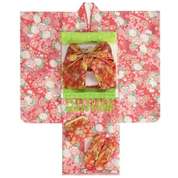 七五三 着物 7歳 着物フルセット リョウコキクチ ピンク色地着物 赤地色帯セット 足袋に腰紐など20点フルセット