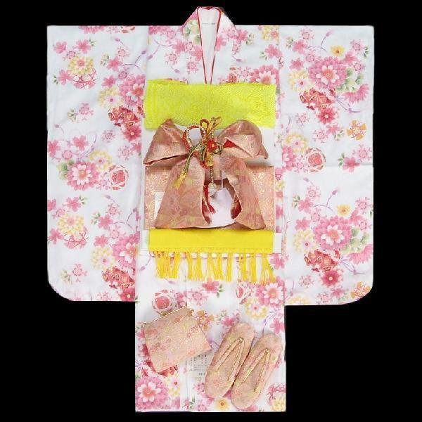 七五三着物7歳 着物フルセット 白色地着物 牡丹菊 ピンク帯セット 足袋に腰紐など20点フルセット
