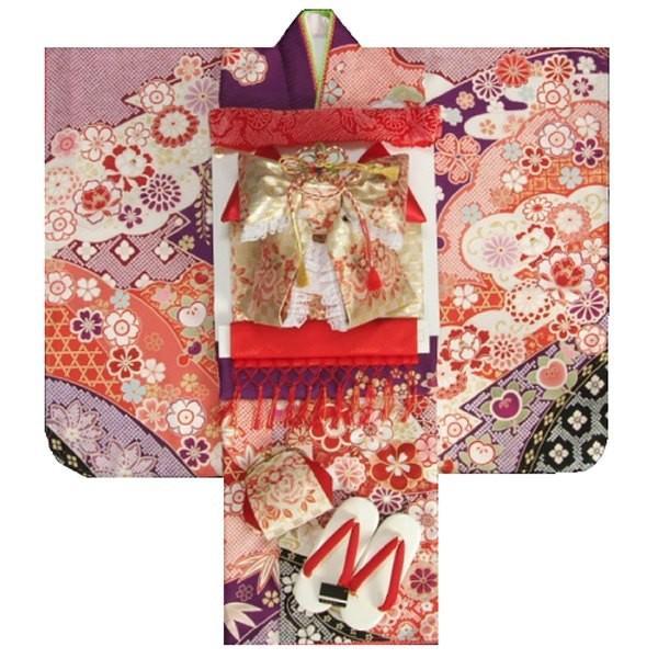 七五三 着物 7歳 着物フルセット 式部浪漫ブランド 紫色地着物 金襴市松柄帯セット 捻り梅 疋田友禅 足袋に腰紐など20点フルセット 日本製