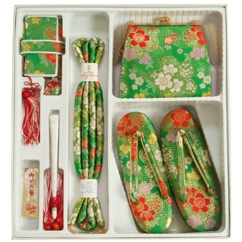 七五三着物用 筥迫セット ハコセコセット 7歳用 緑 桜流水柄 草履バッグ6点セット 日本製
