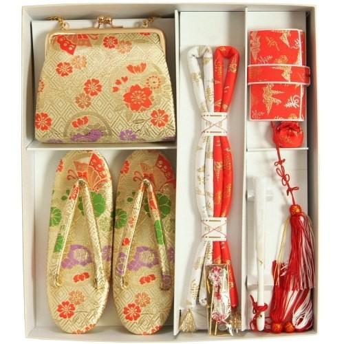 七五三着物用 筥迫セット ハコセコセット 7歳用 ベージュゴールド 桜 揚羽蝶 草履バッグ6点セット 日本製