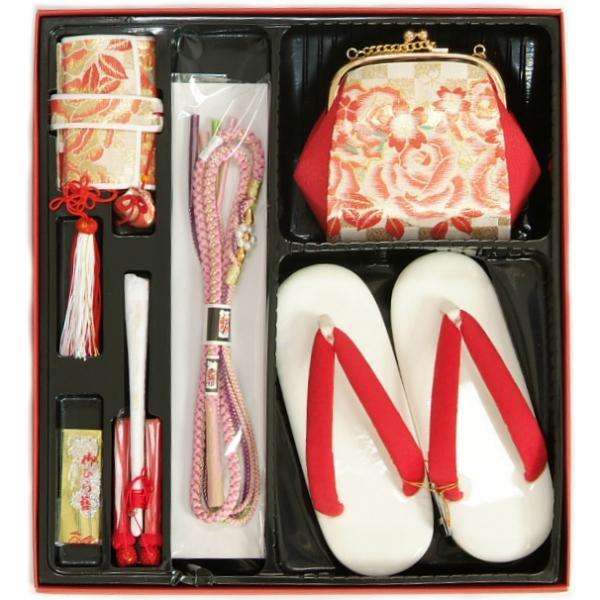七五三 小物 着物用箱セコセット 筥迫セット 7歳用 金襴市松柄 バッグに草履の付いた6点セット 日本製