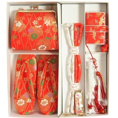 七五三着物用 筥迫セット ハコセコセット 7歳用 赤 桜 立涌柄 草履バッグ6点セット 日本製