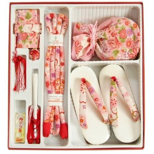 七五三 小物 着物用箱セコセット 筥迫セット 7歳用 ピンク白ぼかし ちりめん生地 きんちゃくに草履の付いた6点セット 日本製