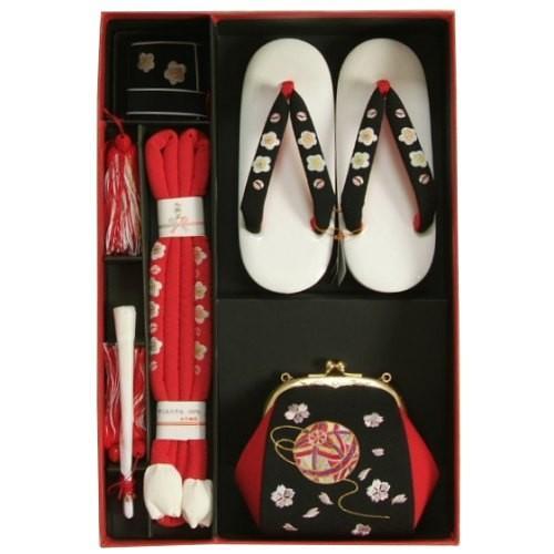 七五三 小物 着物用箱セコセット 筥迫セット 7歳用 黒 まり刺繍 ちりめん生地 バッグに草履の付いた6点セット 日本製