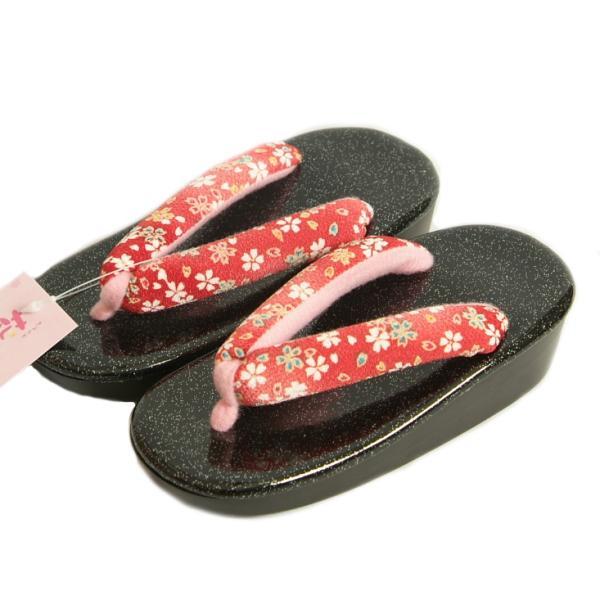 七五三 草履単品 3歳用 濃ピンク地白切替ぼかし かかと鈴使い 中サイズ 日本製