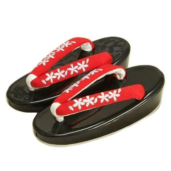 七五三 草履単品 3〜5歳用 草履判黒 鼻緒刺繍柄 中サイズ 日本製