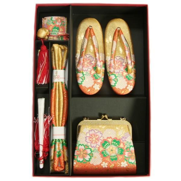 七五三 小物 着物用箱セコセット 筥迫セット 7歳用 金欄朱赤染め分け 織生地 バッグに草履の付いた6点セット 日本製