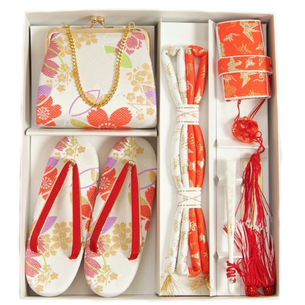 七五三 小物 着物用箱セコセット 筥迫セット 7歳用 白地 捻り梅 織生地 バッグに草履の付いた6点セット 日本製