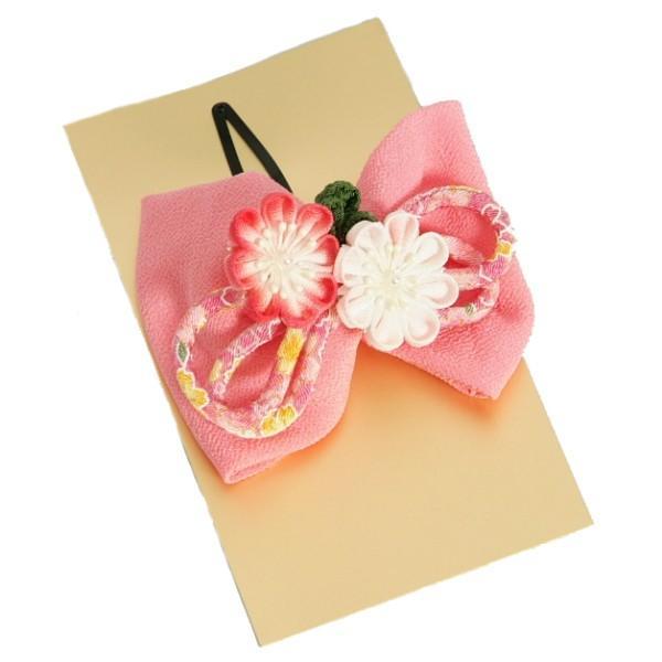 髪飾り 七五三着物 成人式振袖 卒業袴 に最適な和タイプ 濃淡ピンク ちりめん地 りぼん型 パール飾り付 クリップピンタイプ 日本製