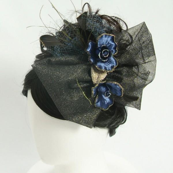 髪飾り 成人式 振袖 七五三着物 卒業袴 ドレスにも使えます ブルーブラックりぼん コームタイプ 日本製